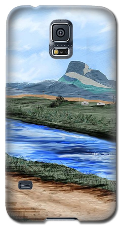 Heart Mountain Galaxy S5 Case featuring the painting Heart Mountain And The Canal by Anne Norskog
