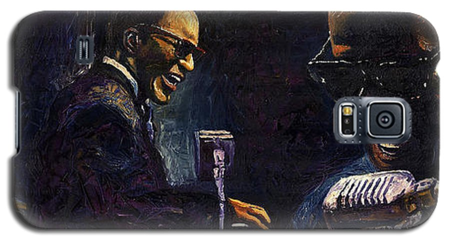 Jazz Galaxy S5 Case featuring the painting Jazz Ray Charles by Yuriy Shevchuk