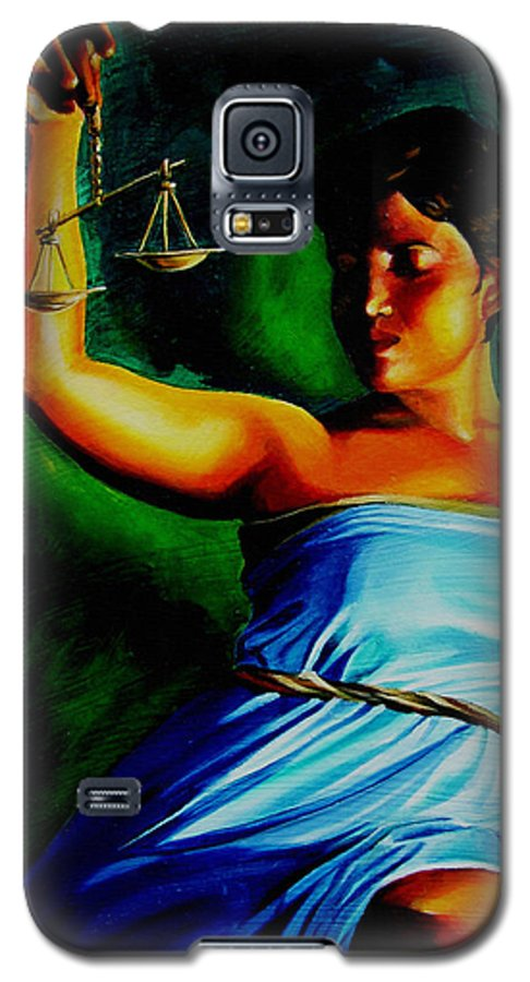 Colorful Galaxy S5 Case featuring the painting Lady Justice by Laura Pierre-Louis