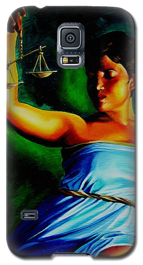 Law Art Galaxy S5 Case featuring the painting Lady Justice by Laura Pierre-Louis