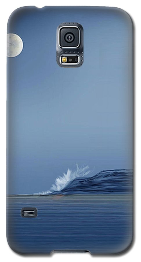 Seascape Galaxy S5 Case featuring the painting Looking At The Moon by Anne Norskog