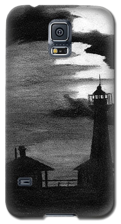 Landscape Galaxy S5 Case featuring the drawing Lydia Ann Lighthouse by Adam Johnson