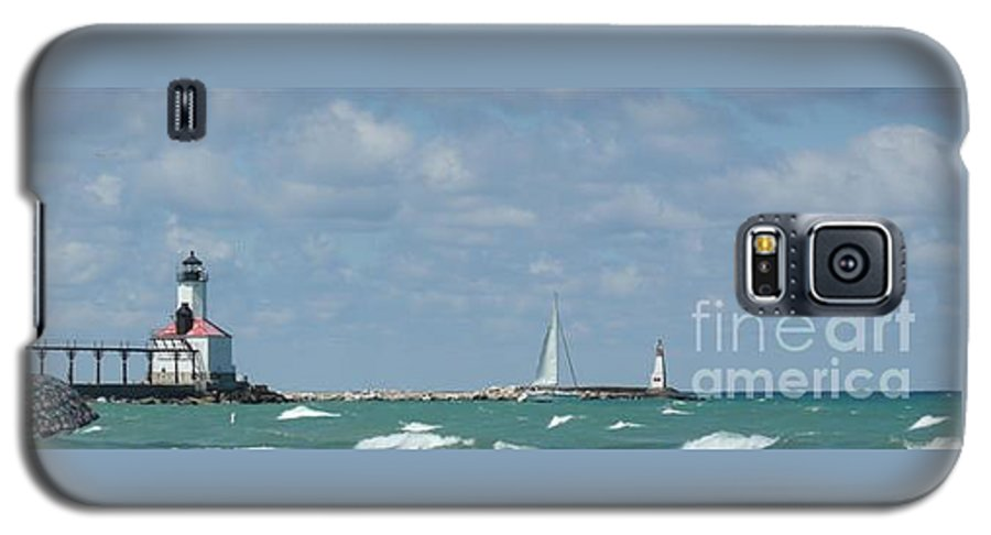 Scenery Galaxy S5 Case featuring the photograph Michigan City Beach Lighthouse by Barb Montanye Meseroll
