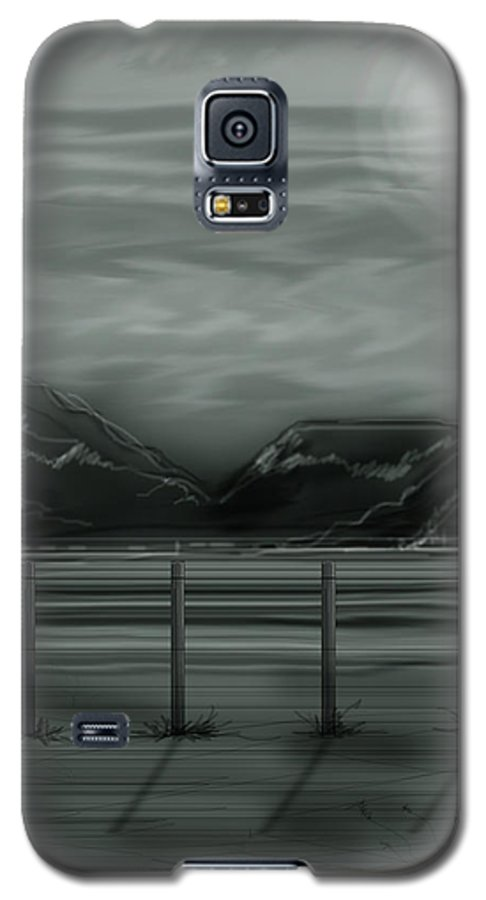 Landscape Galaxy S5 Case featuring the painting Moon Over The Beartooth by Anne Norskog