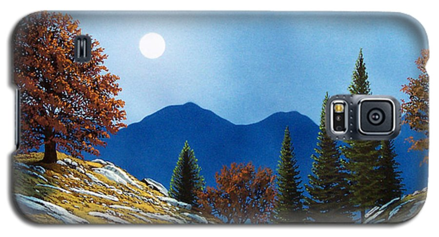 Landscape Galaxy S5 Case featuring the painting Mountain Moonrise by Frank Wilson
