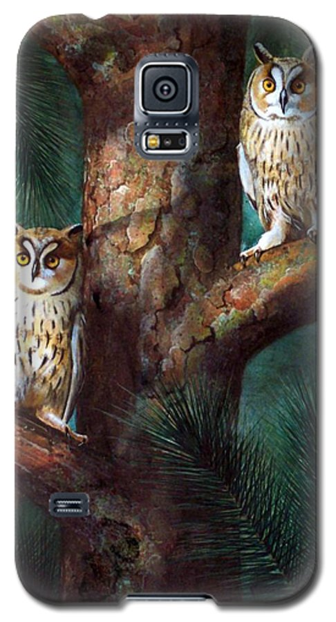 Wildlife Galaxy S5 Case featuring the painting Owls In Moonlight by Frank Wilson
