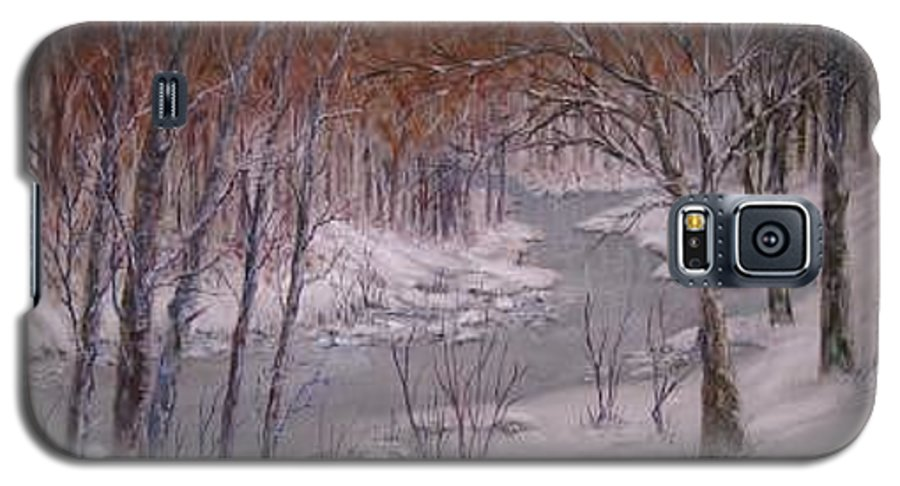 Snow; Landscape Galaxy S5 Case featuring the painting Peace And Quiet by Ben Kiger