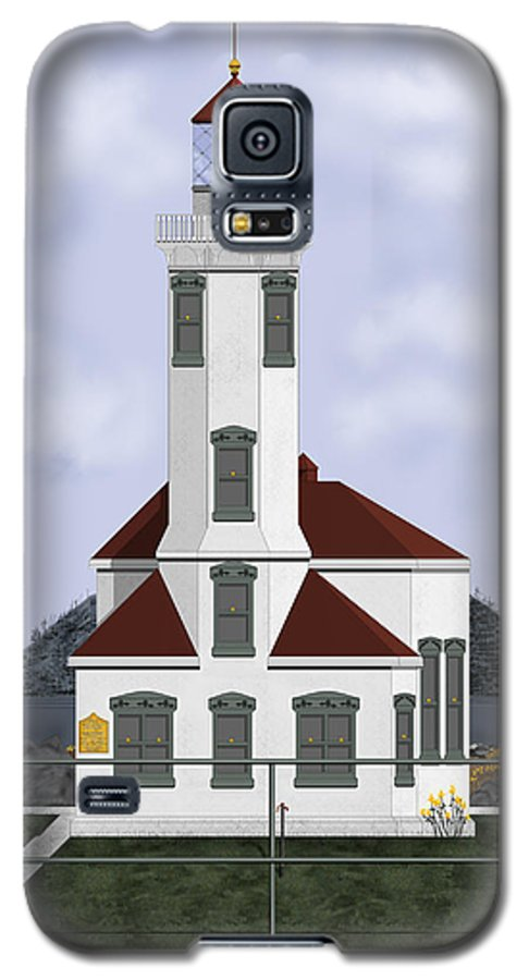 Lighthouse Galaxy S5 Case featuring the painting Point Wilson Lighthouse by Anne Norskog