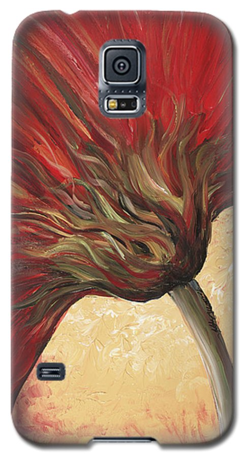 Floral Galaxy S5 Case featuring the painting Power Of Red by Nadine Rippelmeyer
