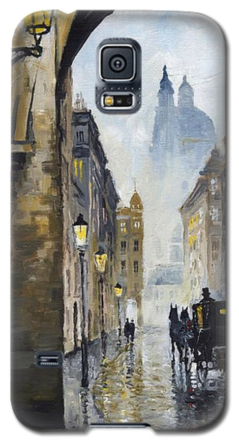 Prague Galaxy S5 Case featuring the painting Prague Old Street 01 by Yuriy Shevchuk