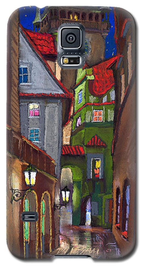 Pastel Galaxy S5 Case featuring the painting Prague Old Street by Yuriy Shevchuk