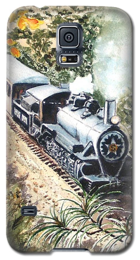 Trains Galaxy S5 Case featuring the painting Round The Bend by Karen Ilari