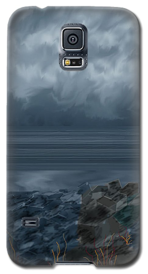 Seascape Galaxy S5 Case featuring the painting Slack Tide On The Jetty by Anne Norskog