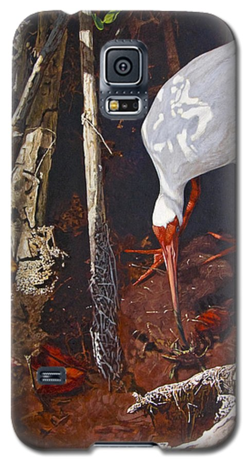 Waterfowl Galaxy S5 Case featuring the painting Sparring For Lunch by Peter Muzyka
