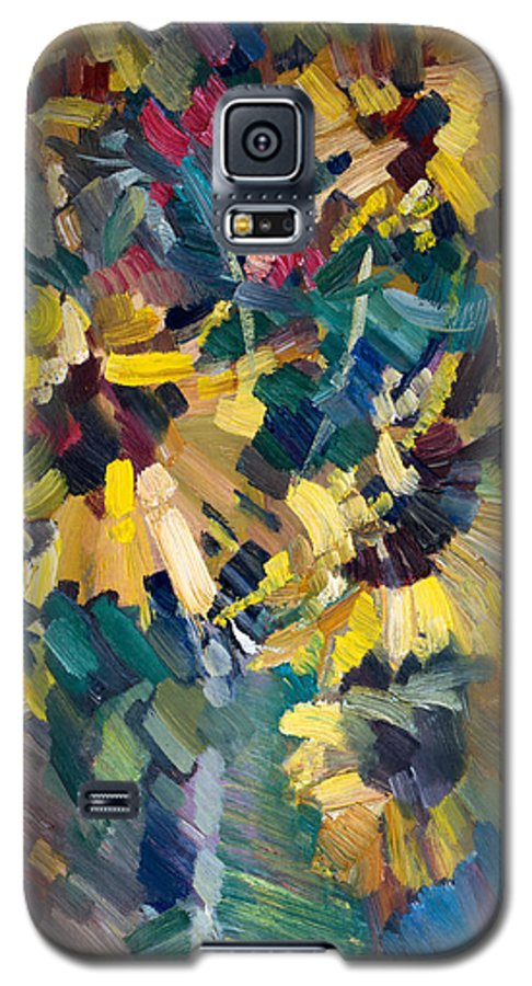 Flowers Galaxy S5 Case featuring the painting Sunflowers by Nikolay Malafeev