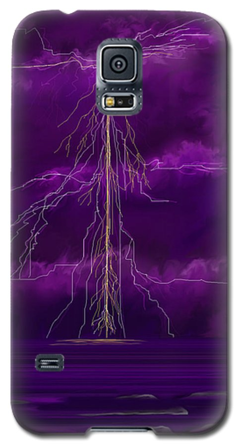 Lightning Storm Galaxy S5 Case featuring the painting Tesla by Anne Norskog