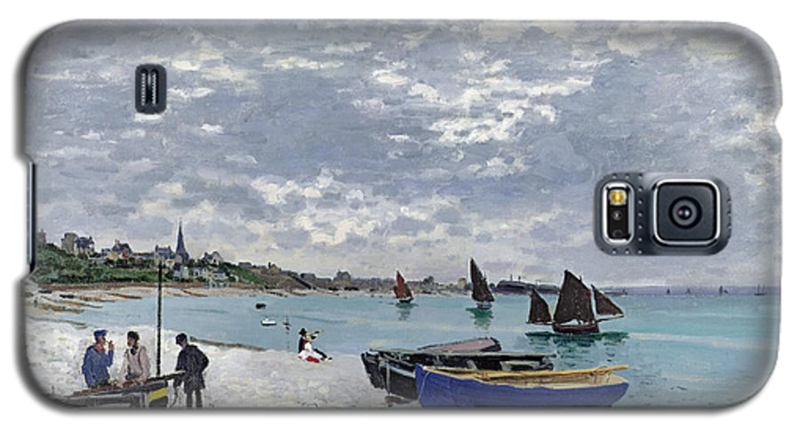 Coastal;french;rowing Boat;sailing;sainte Adresse; Boats Galaxy S5 Case featuring the painting The Beach At Sainte Adresse by Claude Monet
