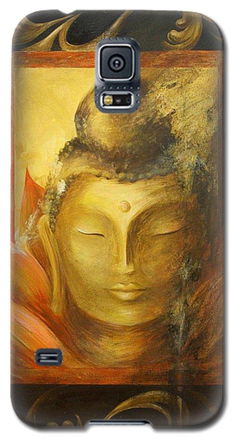 Buddha Buddhist Spiritual Yoga Lotus Meditation Galaxy S5 Case featuring the painting Transcendence by Dina Dargo