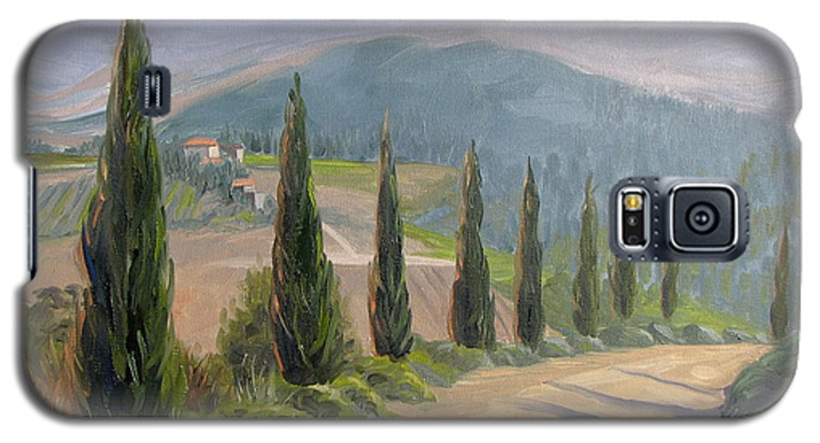 Landscape Galaxy S5 Case featuring the painting Tuscany Road by Jay Johnson