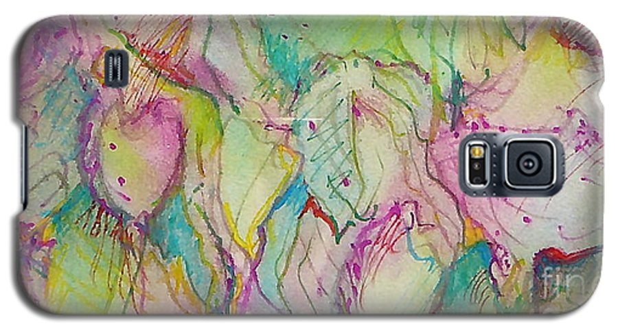 Abstract Galaxy S5 Case featuring the painting Two Lips by Jan Bennicoff