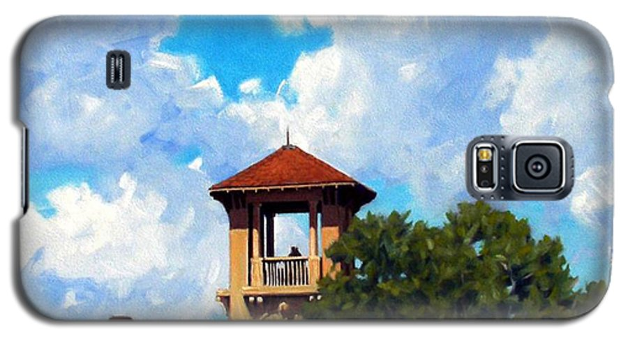Sky Galaxy S5 Case featuring the painting Bell Tower by Kevin Lawrence Leveque
