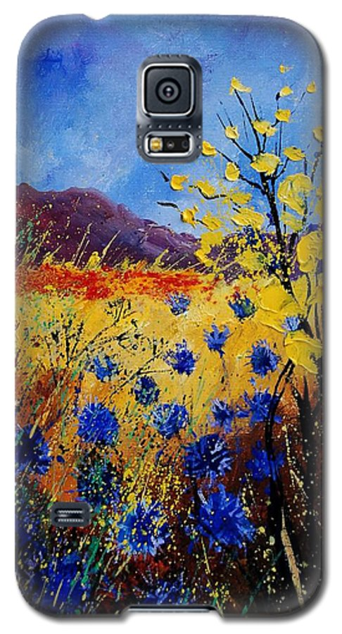 Poppies Flowers Floral Galaxy S5 Case featuring the painting Blue Cornflowers by Pol Ledent