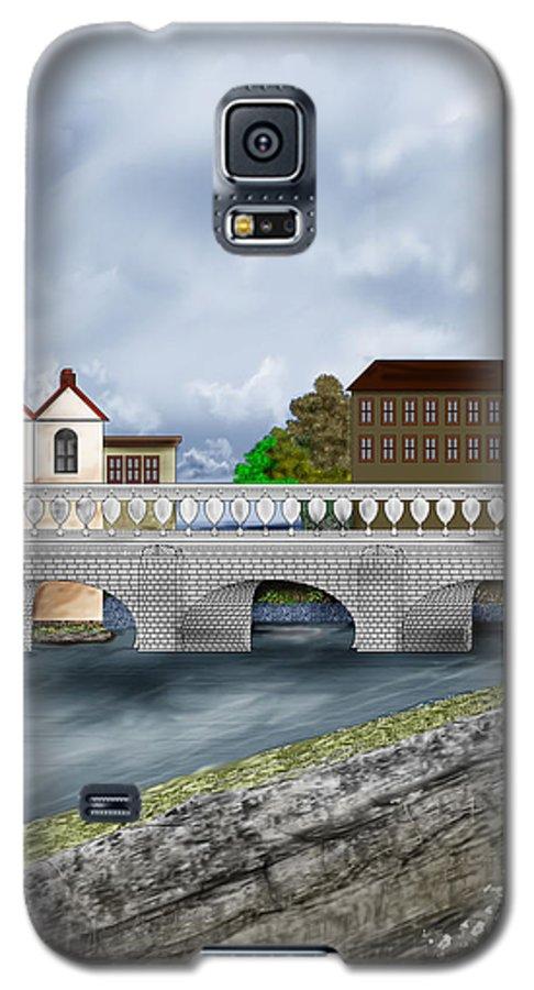 Galway Ireland Bridge Galaxy S5 Case featuring the painting Bridge In Old Galway Ireland by Anne Norskog