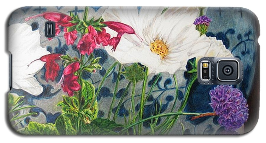 Flowers Galaxy S5 Case featuring the painting Cosmos by Karen Ilari