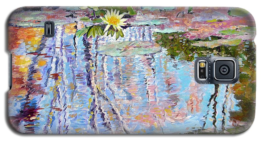 Garden Pond Galaxy S5 Case featuring the painting Fall Reflections by John Lautermilch
