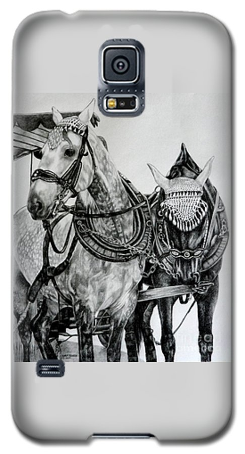 Horse Pencil Black White Germany Rothenburg Galaxy S5 Case featuring the drawing 2 Horses Of Rothenburg 2000usd by Karen Bowden