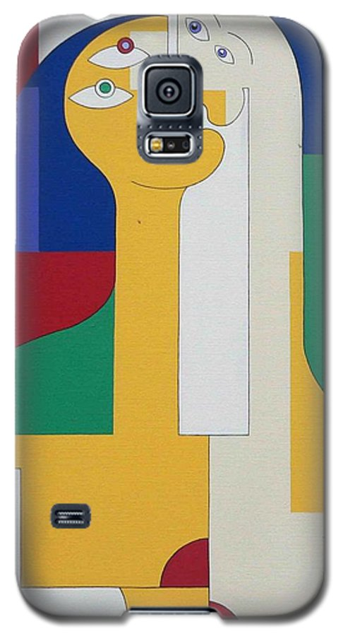 Modern Colors Women Humor Galaxy S5 Case featuring the painting 2 In 1 by Hildegarde Handsaeme
