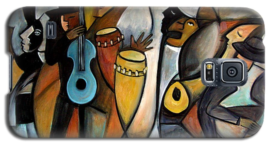 Latin Jazz Musicians Galaxy S5 Case featuring the painting Jazzz by Valerie Vescovi