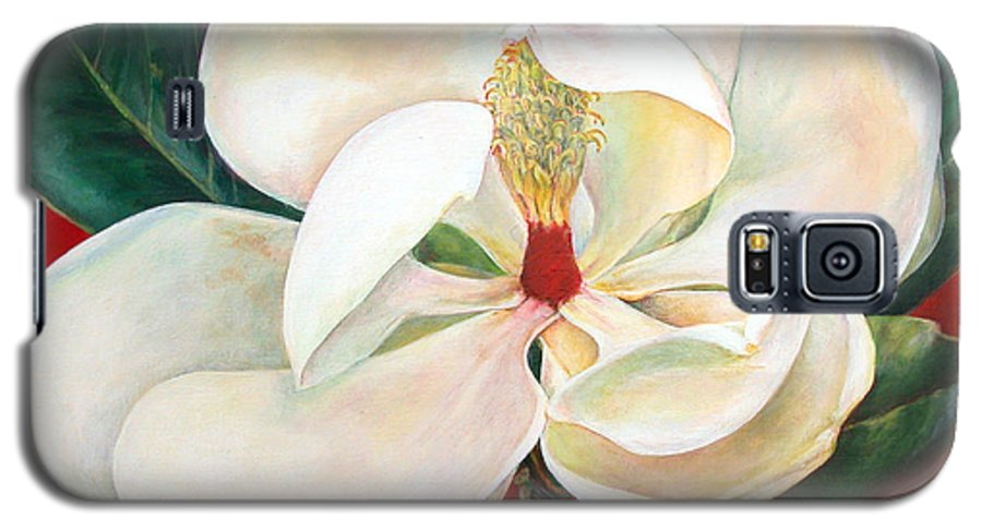 Floral Painting Galaxy S5 Case featuring the painting Magnolia by Muriel Dolemieux