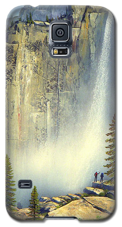Landscape Galaxy S5 Case featuring the painting Misty Falls by Frank Wilson