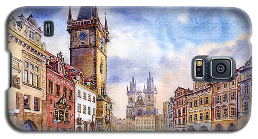Watercolour Galaxy S5 Case featuring the painting Prague Old Town Square by Yuriy Shevchuk