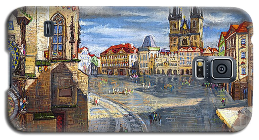 Pastel Galaxy S5 Case featuring the painting Prague Old Town Squere by Yuriy Shevchuk