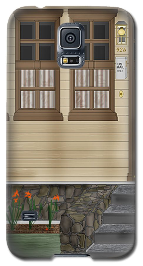 Townscape Galaxy S5 Case featuring the painting Rags On The Front Steps by Anne Norskog