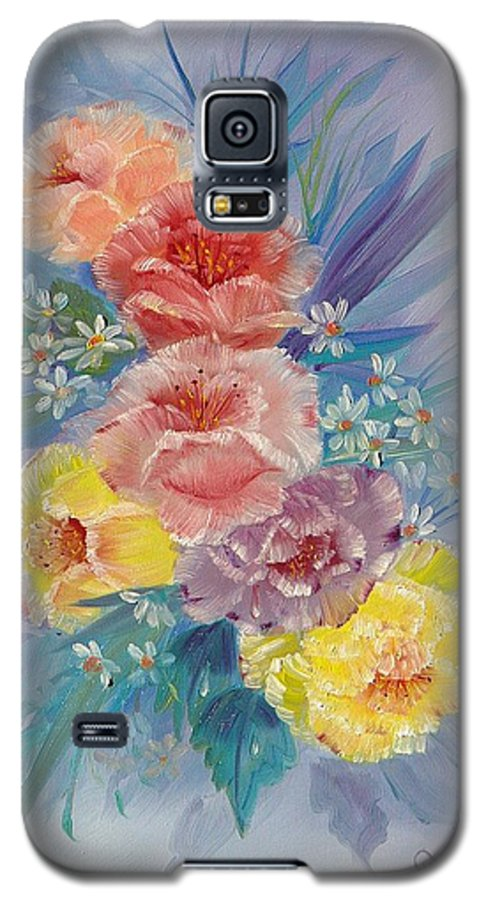 Roses Galaxy S5 Case featuring the painting Roses by Quwatha Valentine