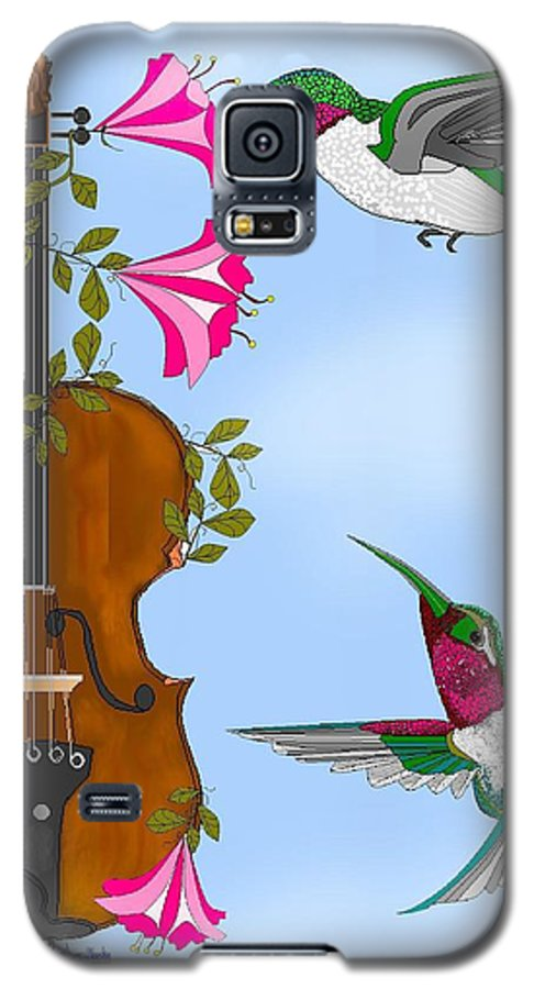 Fantasy Galaxy S5 Case featuring the painting Singing The Song Of Life by Anne Norskog
