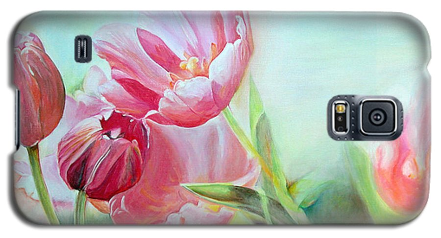 Floral Painting Galaxy S5 Case featuring the painting Tulipes by Muriel Dolemieux