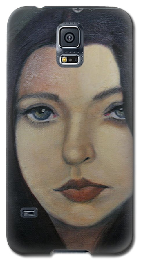 Girl Galaxy S5 Case featuring the painting That Stare by Toni Berry