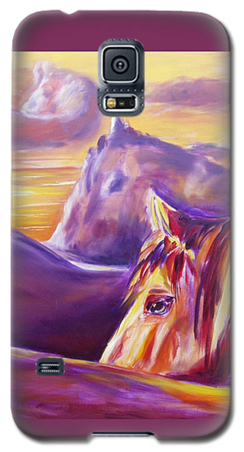 Horses Galaxy S5 Case featuring the painting Horse World by Gina De Gorna