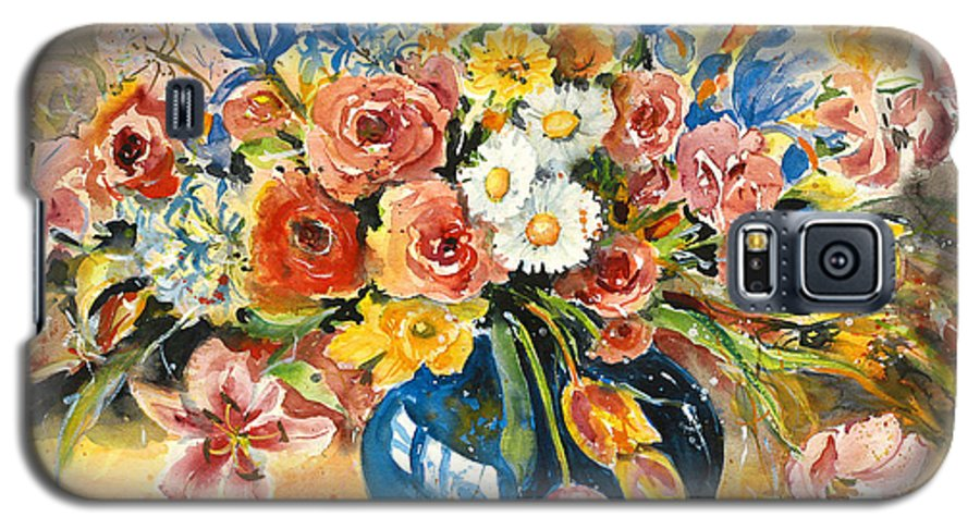 Still Life Galaxy S5 Case featuring the painting Blue Vase by Alexandra Maria Ethlyn Cheshire