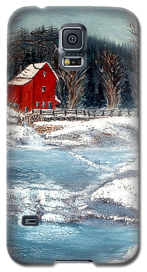 Landscape Mill Old Streem Creek Galaxy S5 Case featuring the painting Old Mill by Kenneth LePoidevin