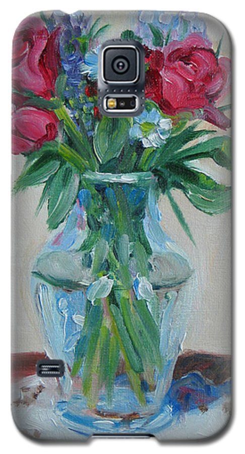 Roses Galaxy S5 Case featuring the painting 3 Roses by Paul Walsh