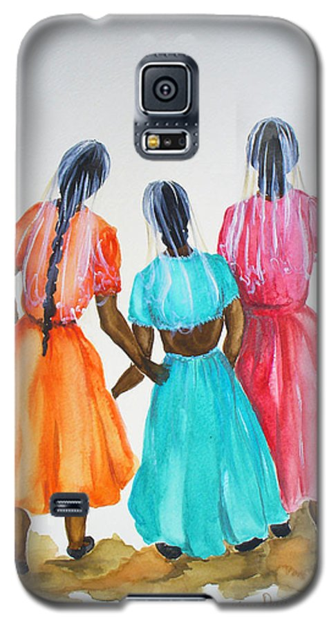 Three Ladies East Indian Galaxy S5 Case featuring the painting 3bff by Karin Dawn Kelshall- Best
