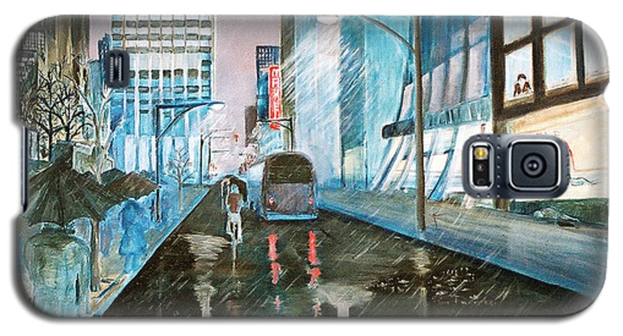 Street Scape Galaxy S5 Case featuring the painting 42nd Street Blue by Steve Karol