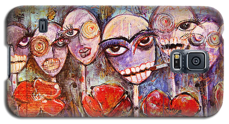 Dia De Los Muertos Galaxy S5 Case featuring the painting 5 Poppies For The Dead by Laurie Maves ART