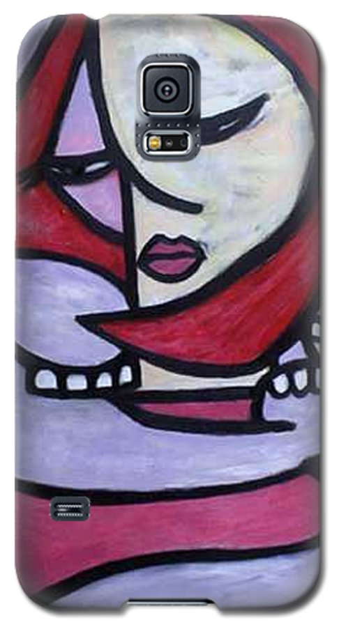 Abstact Galaxy S5 Case featuring the painting Hugs by Thomas Valentine