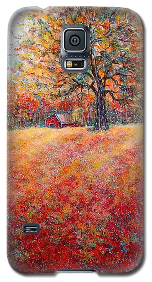Autumn Landscape Galaxy S5 Case featuring the painting A Beautiful Autumn Day by Natalie Holland